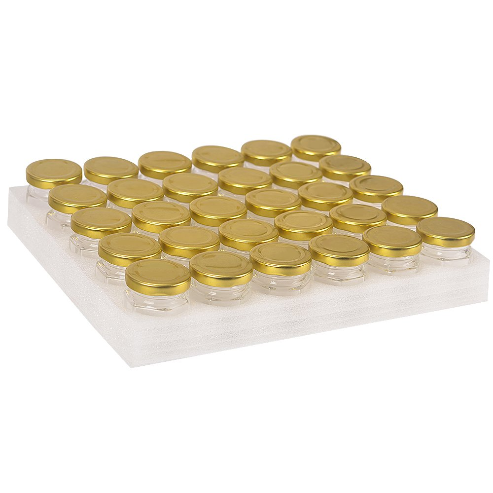 30 Pack 1.5 oz 50 ml Hexagon Glass Canning Jars Jam Jars for Jam,Honey,Candies,Baby Foods,DIY Magnetic Spice Jars(Comes with Gold lids)