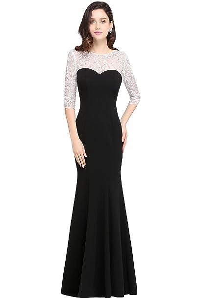 Babyonlinedress Vestido largo de fiesta de boda vestido negro de tejido de punto estilo elegante y