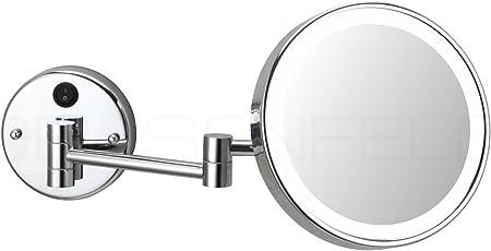Tageslicht LED Kosmetikspiegel 5-Fach Vergr/ö/ßerung kein sichtbares Spiralkabel sehr hell /Ø20cm DEUSENFELD WLED500D Modell 2019 230V Direktanschluss verchromt