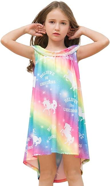 Kids Girls Unicorn Nightie Nightdress T Shirt Pyjamas Dresses Sleepwear Gift