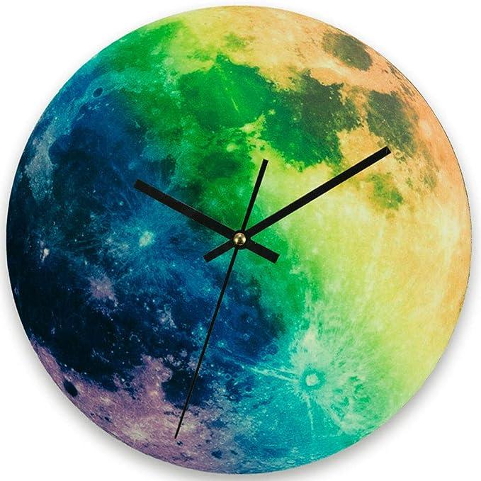 WRMING Moderno Reloj de Pared Redondo Creativo Luna Reloj de Pared Sala Cuarto de Los Niños Luminoso Planeta Reloj de Pared Mudo Reloj Decorativo: ...