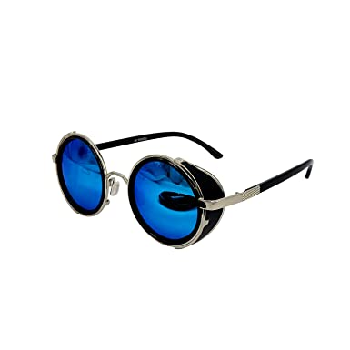 1cd09e293a4 Image Unavailable. Image not available for. Color  Ucspai Steampunk  Sunglasses Silver Frame with Ice Blue Reflective Lens