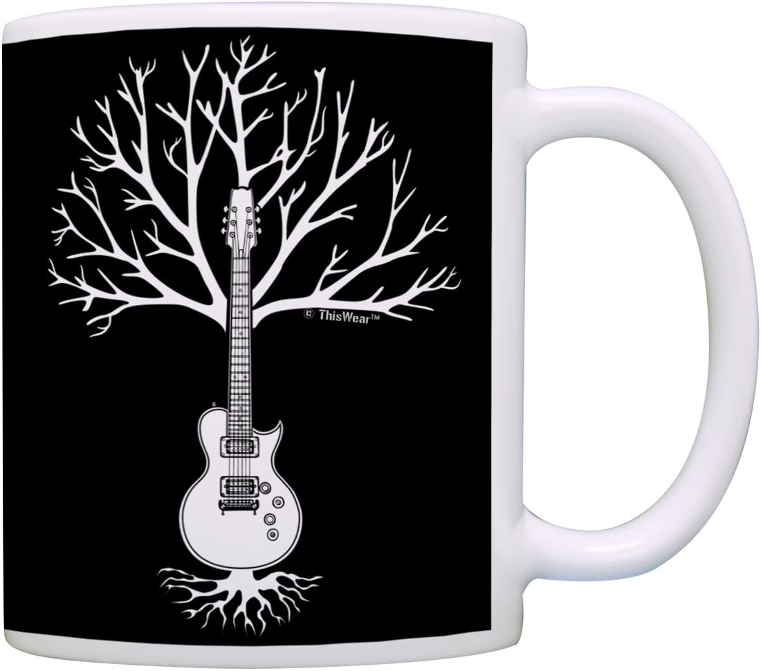 Music Lover Gifts Guitar Tree of Life Music Teacher Mug Music Themed Gift for Women Music Related Gifts Rock Gifts for Men Gift Coffee Mug Tea Cup White