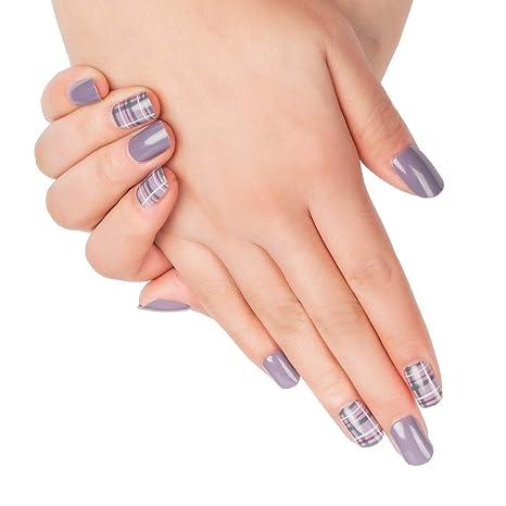 Doreliss uñas postizas 30 Pcs Consejos corto uñas falsas de Pegamento adhesivo de doble cara Púrpura
