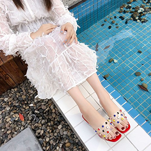 Slip Fashion Dress Transparent Sandals Comfy Heeled Red T Chunky Women on for Beach Color Rivets Slippers JULY vnH45qO