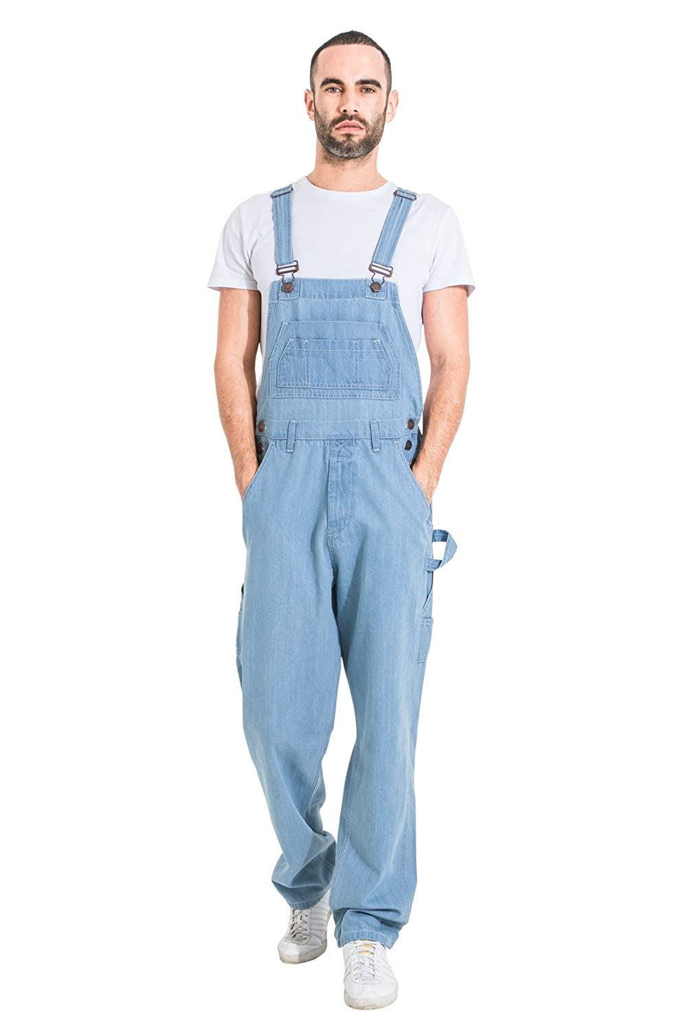 USKEES Basic Denim Dungarees Pale wash Mens Value Overalls Relaxed Fit