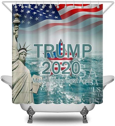 American Flag Election Year Trump 2020 Fabric Shower Curtain Set Bathroom Decor