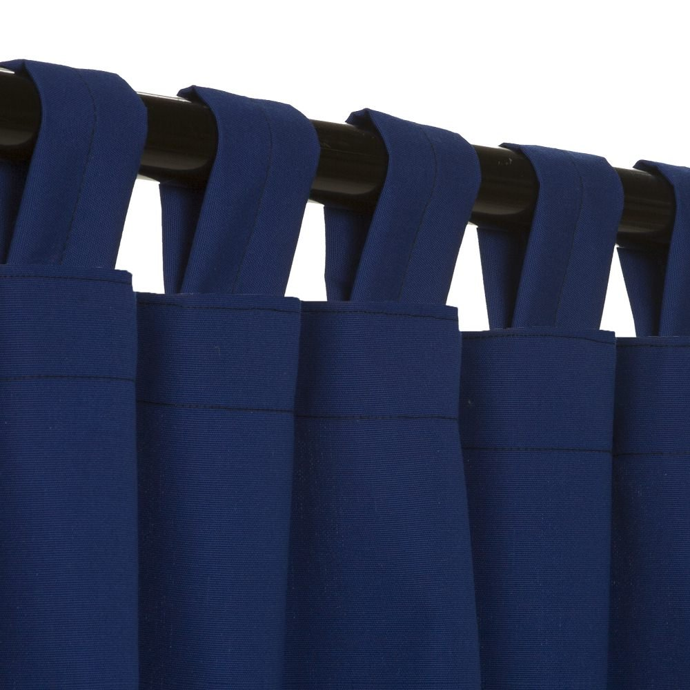 Essentials by DFO True Blue Sunbrella outdoor curtain with tabs 108 long