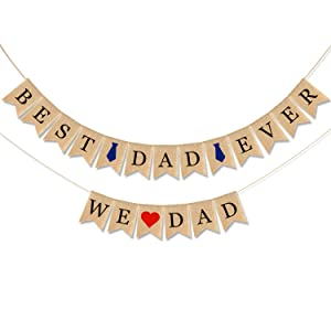 CAVLA Best Dad Ever Burlap Banner and We Love Dad Burlap Banner Jute Fathers Day Bunting Banner Garland with Heart and Ties Signs Father's Day Decorations Party Decor for Father's Day Party Supplies