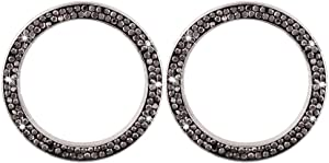 Garneck 2pcs Car Bling Rings Emblem Sticker Crystal Rhinestone Car Ignition Button Rings Bling Auto Start Engine Cover Car Interior Decor for Vehicle Auto(Black)