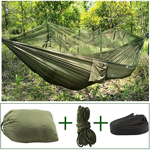 QILOVE Portable Reversible Extra High Strength Parachute Fabric Mosquito Net Camping Hammock Compact Lightweight Hanging Bed Durable Packable Travel Bed For Indoor, Outdoor Camping Travel (Army Green) Gear And Gadgets Shenzhen QILOVE Technology Co., Ltd