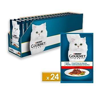 Gourmet Purina Perle - Alimento húmedo para Gatos: Mini filetes de Res en Salsa,