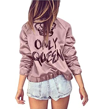 954d3328f Amazon.com: Best Quality Hah Women Fashion Satin Bomber Jackets Only ...