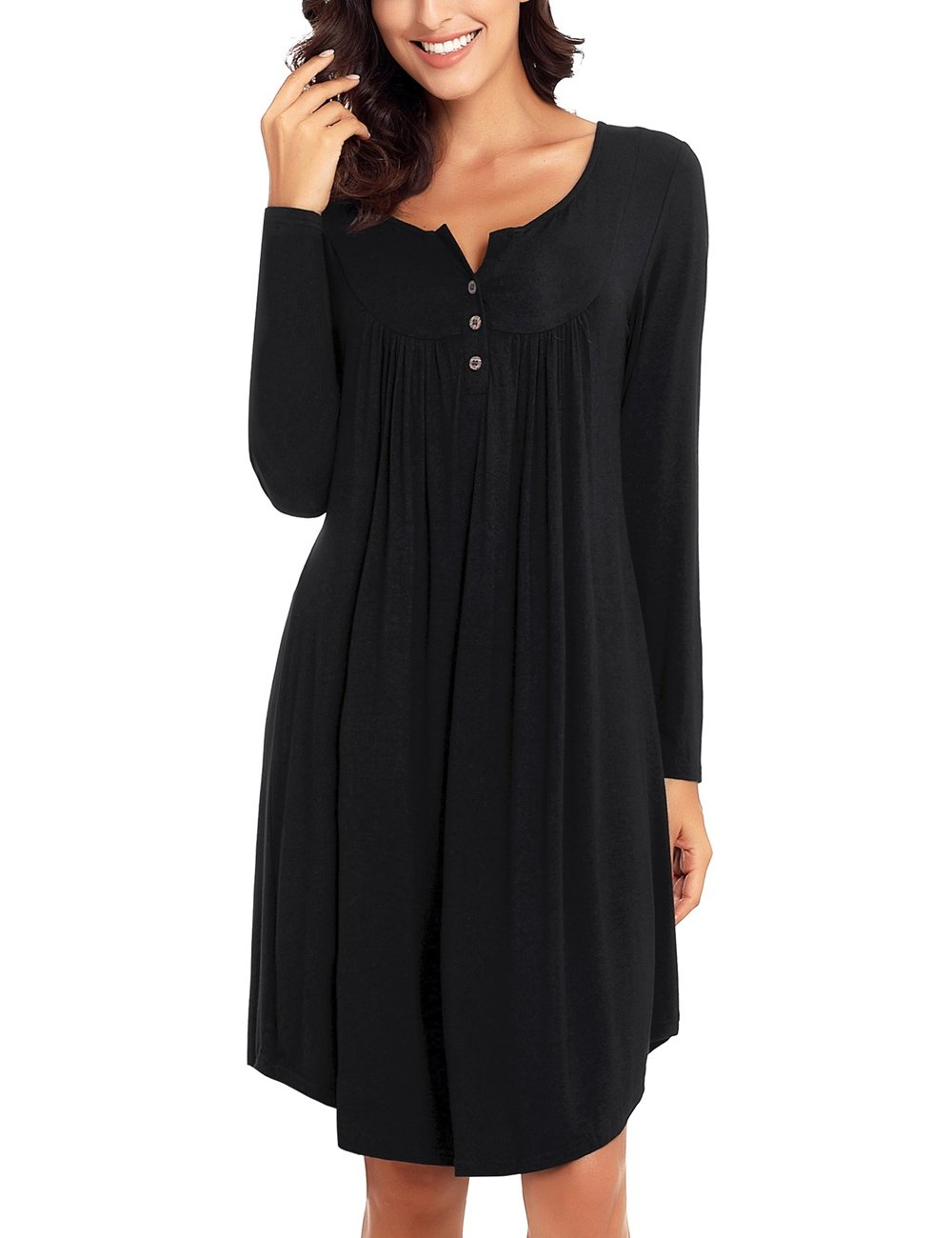GRAPENT Women's Black Long Sleeve Henley Shirt Dress Buttons Casual Loose Tunic Pleated Dress XL(US 16-18)
