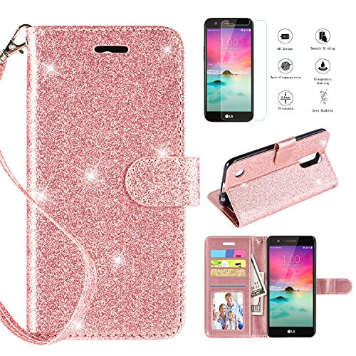 (LG K20 Plus Case,LG K20 V Case,LG K10 2017/LG Harmony/LG Grace LTE Wallet Case w [Screen Protector], [Kickstand] [Card Slots] [Wrist Strap] 2 in 1 Glitter Magnetic Flip PU Leather Skin,Rosegold)