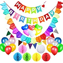 Birthday Party Decorations Supplies Favours, Acetek Happy Birthday Banner Flags 6 Colorful Tissue Paper Pompom Balls, 18 Balloons, Heart Garland for Birthday, Baby Shower, Bridal, Wedding