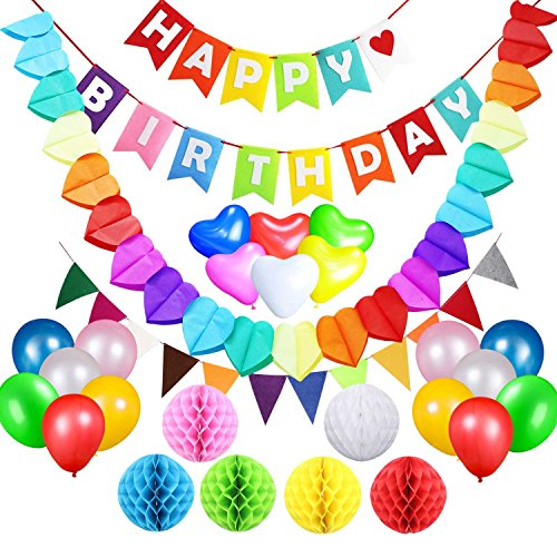 Happy Birthday Streamer (Birthday Party Decorations Supplies Favours, Acetek Happy Birthday Banner Flags 6 Colorful Tissue Paper Pompom Balls, 18 Balloons, Heart Garland for Birthday, Baby Shower, Bridal, Wedding)