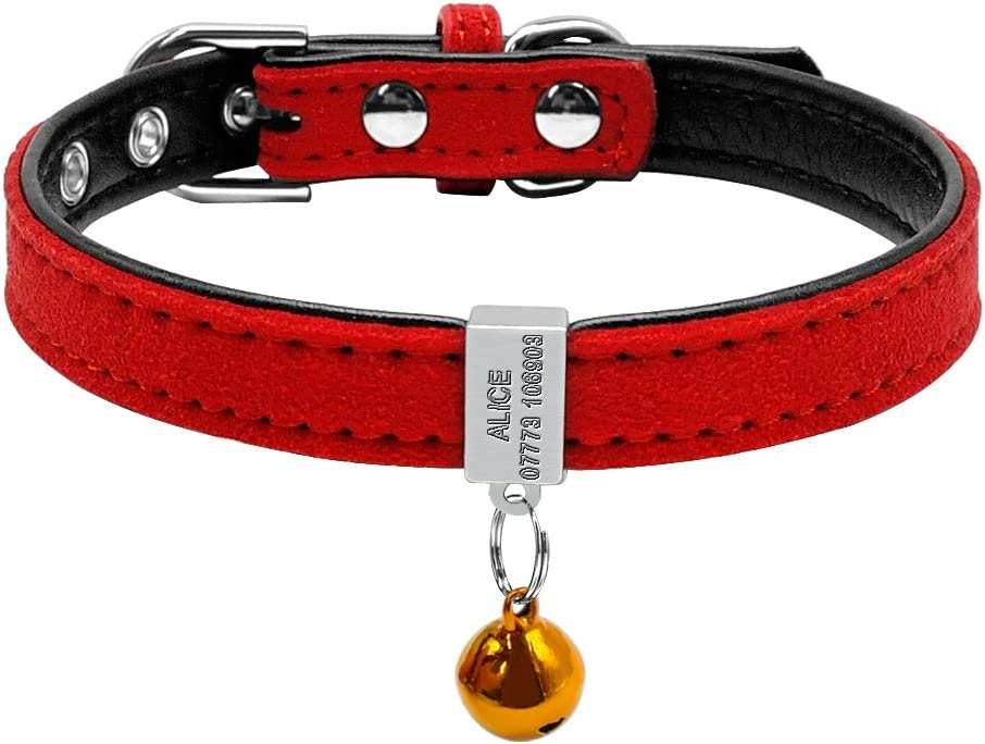 Berry - Collar acolchado personalizado para mascota, con grabado deslizable para identificación, para gatos o perros pequeños