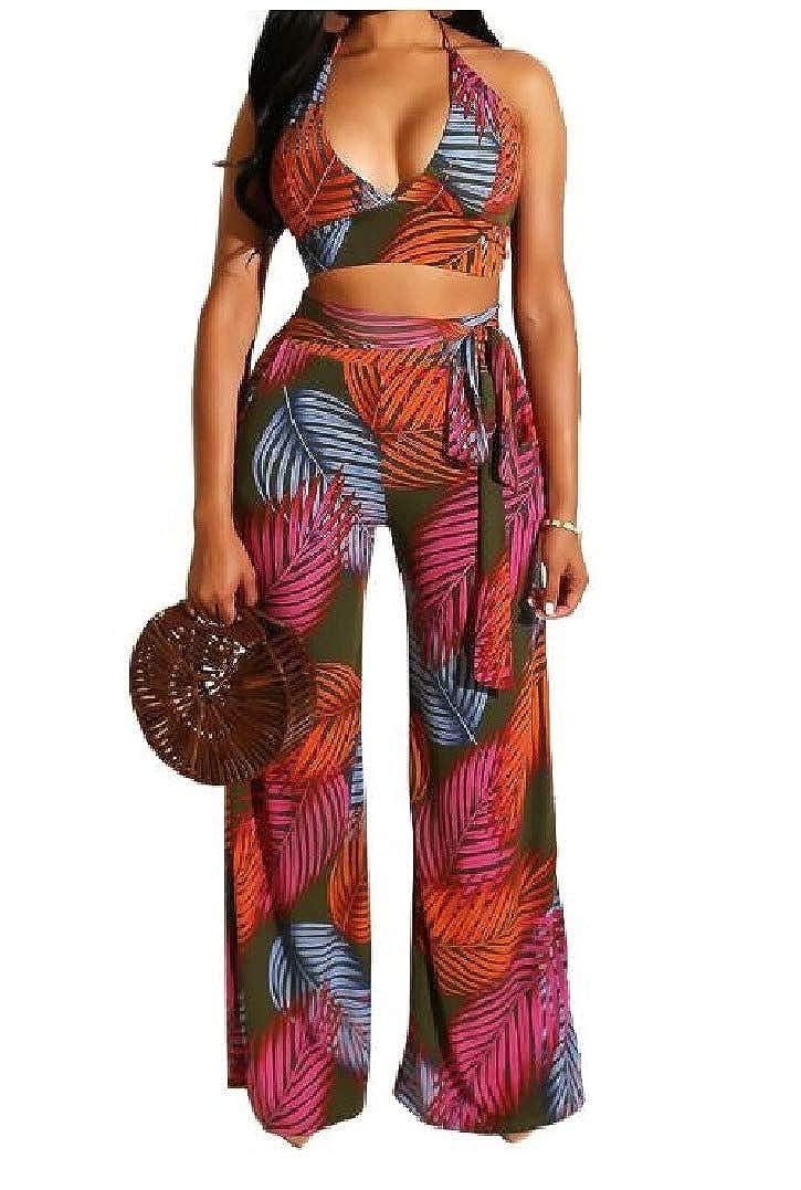 HEFASDM Women Tropical Wide Legs Halter Crop Two Pieces Romper Playsuit Jumpsuit
