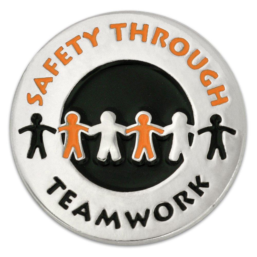 PinMart's Safety Through Teamwork Enamel Lapel Pin