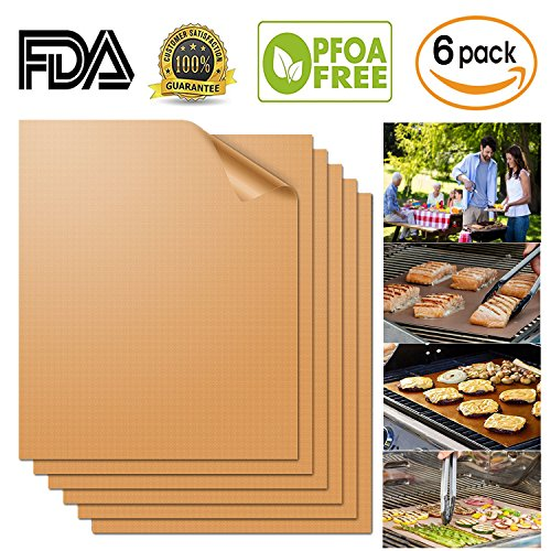Aquablessing Copper Grill Mat 6 Set 15.75x13''| Non-Stick, Durable, Washable & PFOA Free | For Baking, Grilling, BBQ, Charcoal, Electric, Gas, Oven, Outdoors, Meat, Veggies, Pizza, Cookies & More