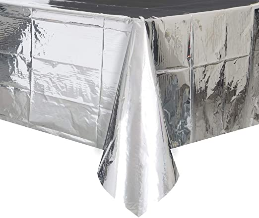 108 x 54 Foil Silver Plastic Tablecloth