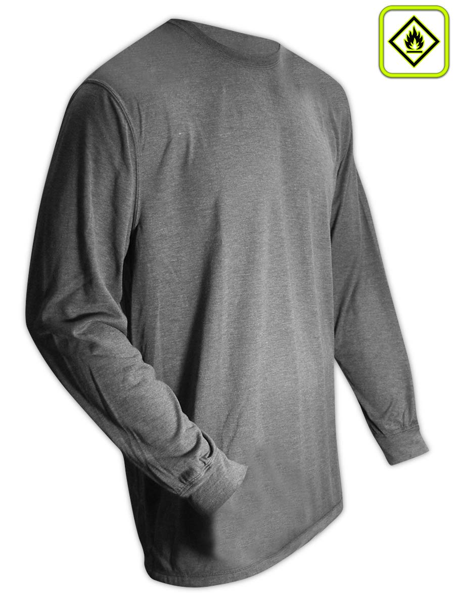 Magid Safety ARS450GYL AR Defense NFPA 70E Compliant Jersey Knit Shirt, Large, Gray
