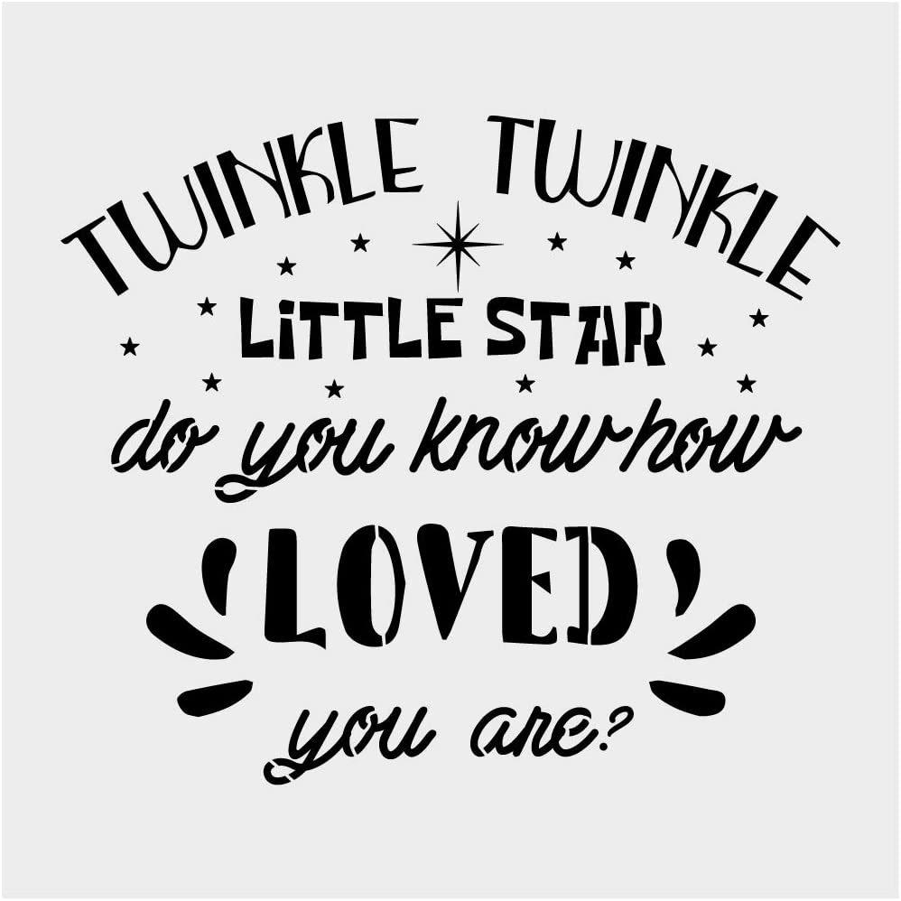 """Twinkle Twinkle Little Star Alphabet Large Letter Stencil for Painting on Wood, Canvas, Walls, Floors, Fabrics and Furniture, Paint Wooden Signs, DIY Home Decor, Reusable Plastic Stencil(12"""" x 12"""")"""