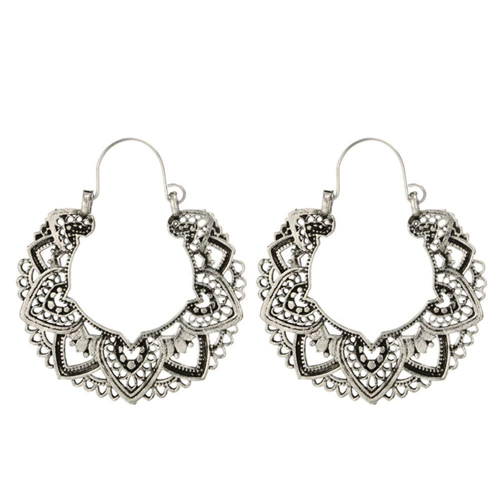 YOMXL Women Alloy Earrings,Vintage Bohemian Openwork Flower Mandala Earrings Indian Tribal Ethnic Hoop Dangle Drop Earrings (White)