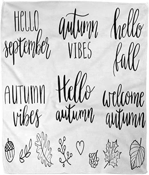 Amazon Com Emvency Flannel Throw Blanket Fall Hand Lettering