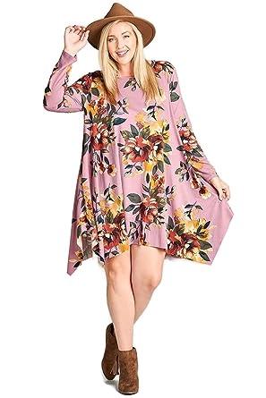 869ff3b8145 Oddi Women s Floral Jersey Knit Trapeze Dress Plus Size at Amazon ...