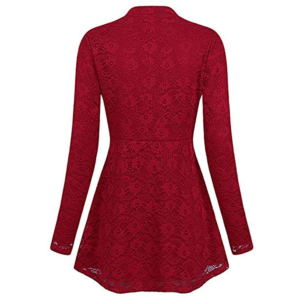 SamMoSon Tops for Women Plus Size V-Neck Solid Lace Long Sleeve Shirt Blouse