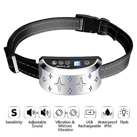 A+Trainer Collar Antiladridos Recargable para Perros, Collar Adiestramiento Ajustable para Perros 7 Niveles