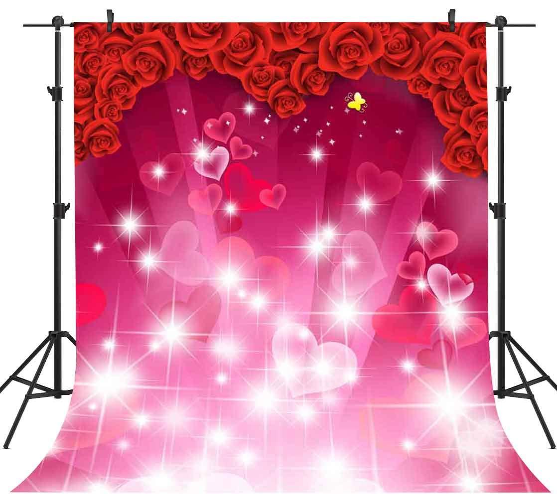 PHMOJEN 5x7フィート レッドローズ ピンクハート グリッターバックドロップ 写真撮影 ウェディングパーティー バレンタインデー背景 ビニール写真ブース小道具 XCPH502   B07MKSZVG8