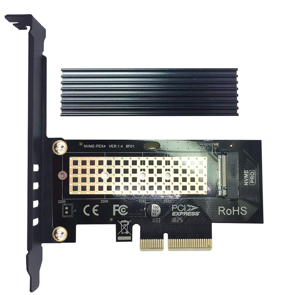 M.2 PCIE NVME Adapter Card with Full Covering Aluminum