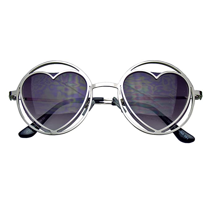 04137488d86 Amazon.com  Womens Round Metal Heart Shape Hippie Circle Sunglasses  (Black)  Clothing