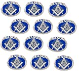Masonic Freemason Oval Emblem with Square and Compass Lapel Hat Pin (12 Pins)