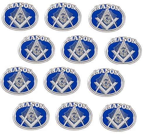 Masonic Freemason Oval Emblem with Square and Compass Lapel Hat Pin (12 Pins) - Flag Pin Emblem Lapel