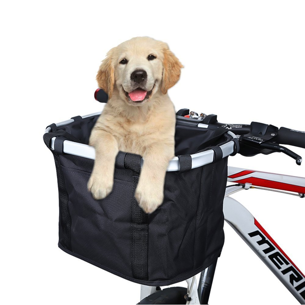 CDM product ANZOME Bike Basket, Folding Small Pet Cat Dog Carrier Front Removable Bicycle Handlebar Basket Quick Release Easy Install Detachable Cycling Bag Mountain Picnic Shopping big image
