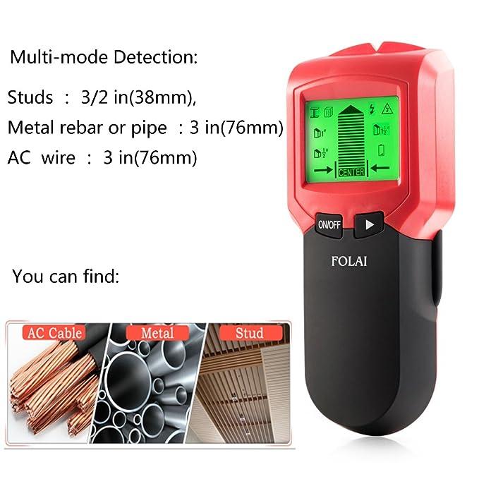 Detector de Pared,Detector de Metal, Madera y AC Cable, Multifunción con Pantalla LCD Detector de cables eléctricos, objetos metálicos, tuberías ocultas ...