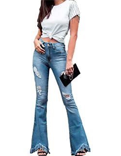 5427e9562b64 JESPER Women Vintage Wide Leg Jeans Daily Hight Waisted Slim Bell Bottoms Denim  Pants
