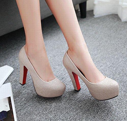 Mee Shoes Damen High Heels Pailletten Geschlossen Pumps Gold