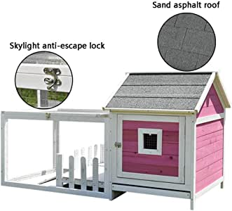 Rabbit Hutch Outdoor Special Balcony Rainproof Pet House Anti-Corrosion Tray Bottom Net Wooden Guinea Pig Hutch Dog Pen (Color : Pink, Size : 144.5 * 66 * 81cm)