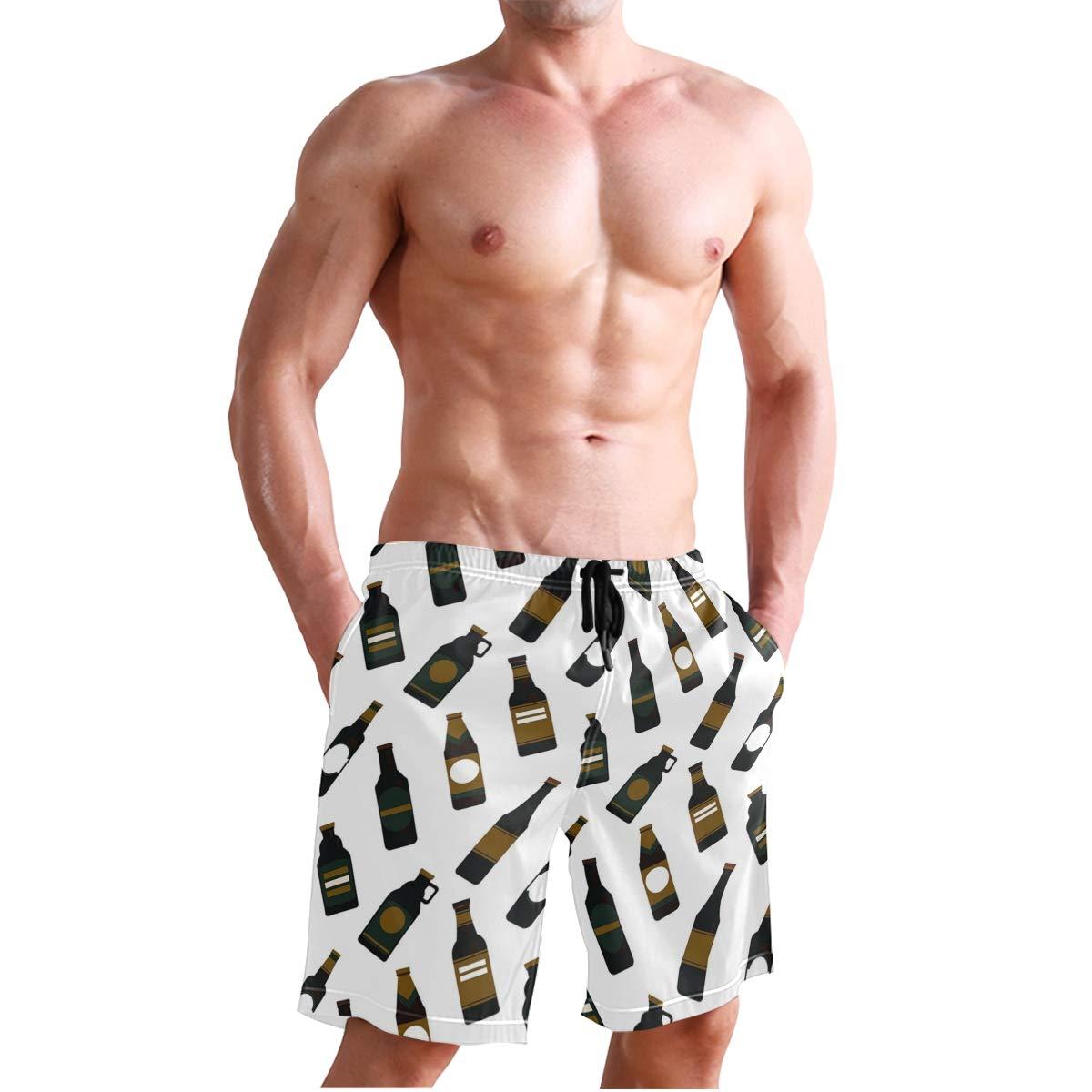 JTKPE Mens Swim Trunks Beach Shorts Alochol Bottle Board Shorts Bathing Suit