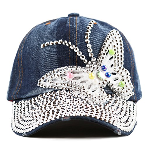 Rhinestone Hat (The Hat Depot Bling Rhinestone Butterfly Washed Cap (denim blue))