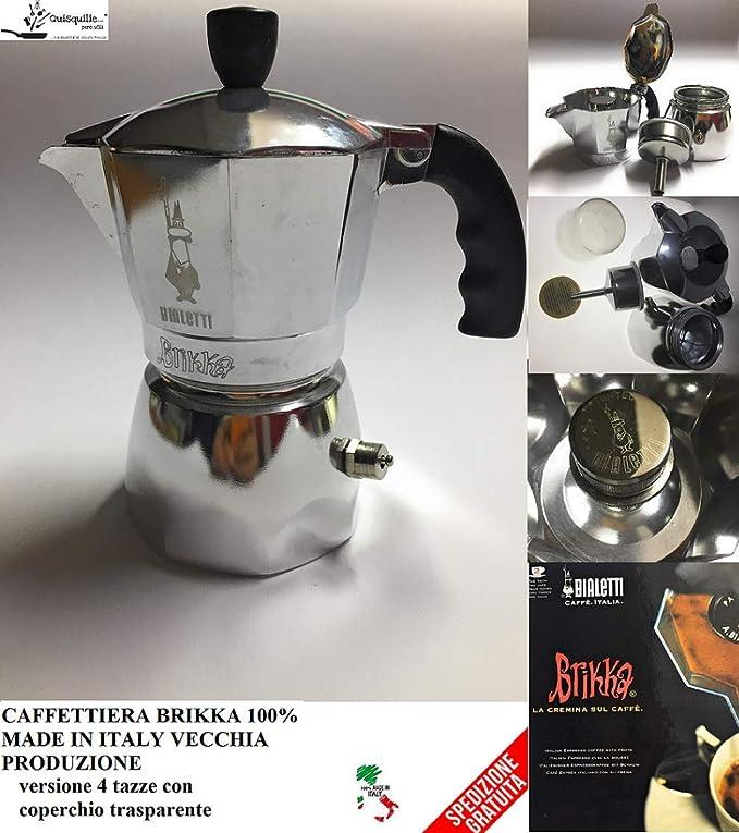 Bialetti Caffettiera Brikka 2 tazas antigua producción 100% Made in Italy: Amazon.es: Hogar