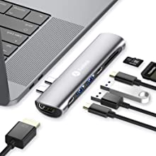 "Andobil 7 in 1 USB C Hub für MacBook Pro 2018/2017/2016 13""&15""/ MacBook Air 2018 13"", USB C Adapter mit Thunderbolt 3 Port, 4K-HDMI, Typ C PD und 2 USB 3.0 Ports, SD/TF Kartenleser, Spacegrau"