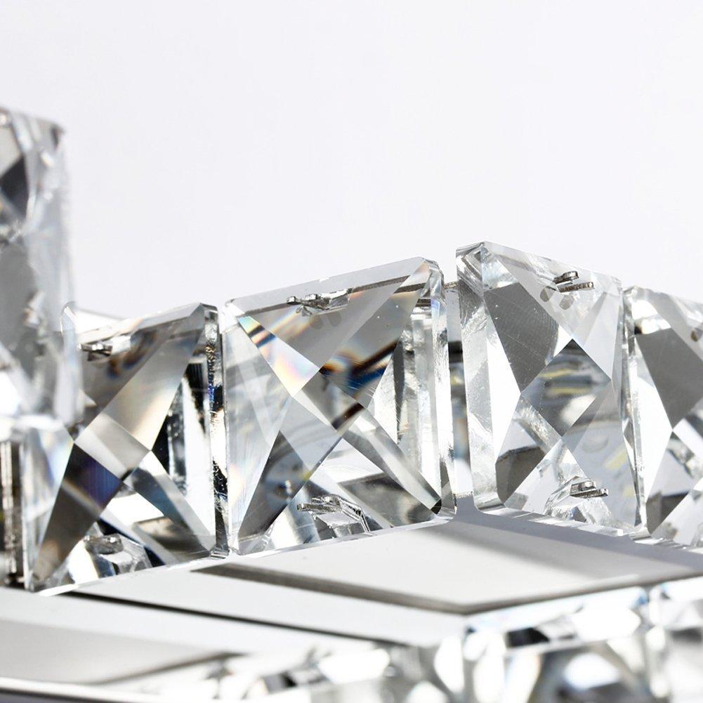 L/ámpara de Ba/ño Led Ba/ño L/ámpara Apliques de Pared L/ámpara Cristal 12W LED Cristal Apliques de Pared Resistente al Agua para el Ba/ño L/ámpara Frente al Espejo Acero Inoxidable 4 L/ámparas Blanco C/&aacu