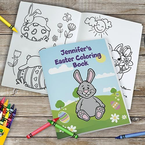 Personalized Easter Coloring Book, 24 Pages, Comes with 24 Pack Crayola Crayons -