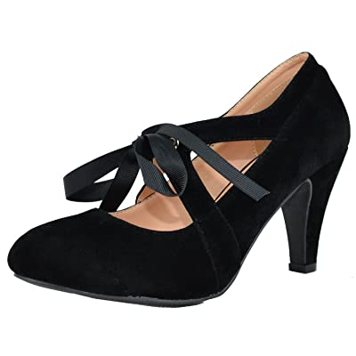 Chase & Chloe Women's Vintage Bow Mary Jane High Heel Pump   Shoes